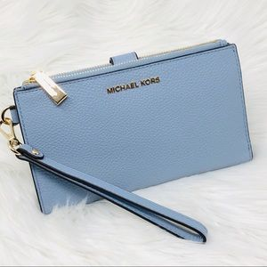 Micheal Kors Pale Blue Wristlet Leather Wallet